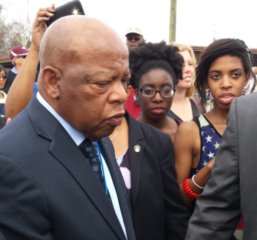 Essay winners with Congressman John Lewis